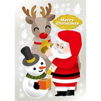 ウィンドウシール 両面印刷 クリスマス サンタクロース トナカイ 雪だるま (6882)