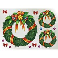 ウィンドウシール 両面印刷 クリスマス リース (6885)