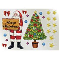 ウィンドウシール 両面印刷 クリスマス サンタ・ツリー (6887)