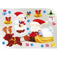 ウィンドウシール 両面印刷 クリスマス サンタ・ソリ (6888)