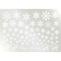 ウィンドウシール 両面印刷 クリスマス 雪の結晶 (6889)