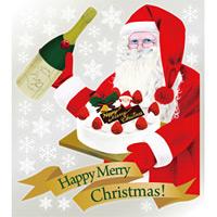 巨大ウィンドウシール800mm×900mm 両面印刷 クリスマス サンタ・ケーキ (6896)