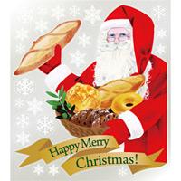 巨大ウィンドウシール800mm×900mm 両面印刷 クリスマス サンタ・ブレッド (6897)