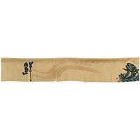 【新商品】エステル麻のれん 魚 青 5巾ショート (68976)