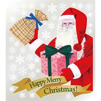巨大ウィンドウシール800mm×900mm 両面印刷 クリスマス サンタ・プレゼント (6898)