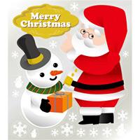 巨大ウィンドウシール800mm×900mm 両面印刷 クリスマス サンタ・スノーマン (6903)