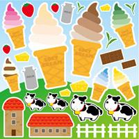 ソフトクリームと牛 看板・ボード用イラストシール (W285×H285mm)