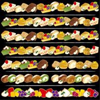 ケーキ ライン 看板・ボード用イラストシール (W285×H285mm)