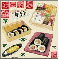 幕の内弁当・巻き寿司・助六 ボード用イラストシール (69662)