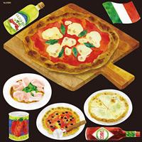 イタリアン(8) ピッツァ4種 看板・ボード用イラストシール (W285×H285mm)