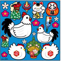 Pデコシール 干支 酉 門松 青 ボード用イラストシール (69993)