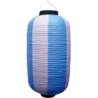 お祭り・店舗用ビニール製ちょうちん 青・白 規格:9号長型 (9166)