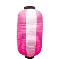 お祭り・店舗用ビニール製ちょうちん ピンク・白 規格:9号長型 (9168)