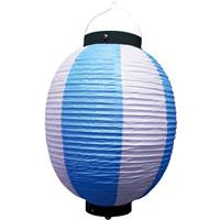 お祭り・店舗用ビニール製ちょうちん 青・白 規格:9号丸型 (9171)
