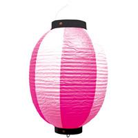 お祭り・店舗用ビニール製ちょうちん ピンク・白 規格:9号丸型 (9173)