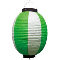 お祭り・店舗用ビニール製ちょうちん 緑・白 規格:9号丸型 (9174)