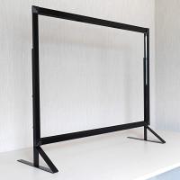 3段高さ調節機能付き飛沫感染防止板 PGバリアスタンド プラス ブラック W600