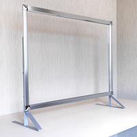 3段高さ調節機能付き飛沫感染防止板 PGバリアスタンド プラス シルバー W600