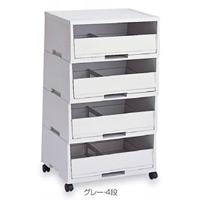 古紙分別用ゴミ箱 エコペーパーソート2 A3用 規格:グレー・4段 (DS-187-304-5)
