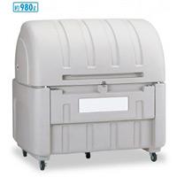 集積保管用ゴミ箱 ワイドペール1000 (カギ穴付) 仕様:キャスター付 (DS-221-098-5)