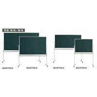 スチールグリーン黒板 MAJIシリーズ (脚付) 黒板 両面 (スチールグリーン) 無地/無地 板面寸法:W1210×H 910 (MS34TDN)