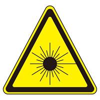 JISレーザー警告ラベルステッカー 10枚1組 サイズ: (大) 50mm三角 (027107)