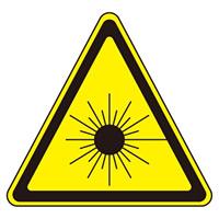 JISレーザー警告ラベルステッカー 10枚1組 サイズ: (小) 25mm三角 (027307)