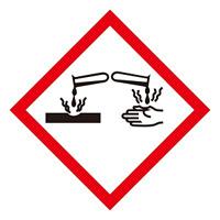 化学物質関係標識 GHSラベル 腐食性 5枚入り サイズ: (大) ◇一辺/150mm (037104)