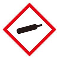化学物質関係標識 GHSラベル ガスボンベ 5枚入り サイズ: (中) ◇一辺/70mm (037205)