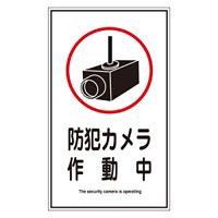 オレフィンステッカー標識 200×120mm 10枚1組 表示:防犯カメラ作動中 (047123)