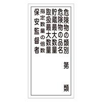 危険物標識 硬質エンビ 縦書き 600×300×1mm 表示:危険物の類別第○類 (052016)