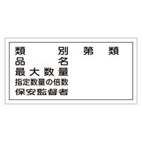 危険物標識 硬質エンビ 横書き 300×600×1mm 表示:類別・第○類 (054016)