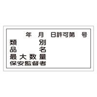 危険物標識 硬質エンビ 横書き 300×600×1mm 表示:類別・許可第○号 (054030)