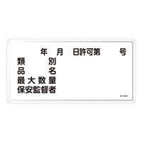 危険物標識 スチール明治山 横書き 300×600mm 表示:類別 許可第○号 (055130)