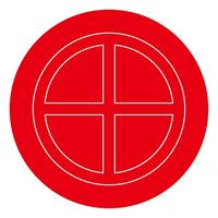 消防標識板 破壊板 アクリル赤色透明 サイズ (外径) :104mmφ×2mm (063104)