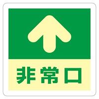 避難誘導標識 床用標識 (蓄光) ステッカー 300mm角 表示:矢印+非常口 (069001)