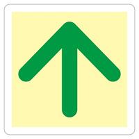 避難誘導標識 床用標識 (蓄光) ステッカー 300mm角 表示:矢印のみ (069002)