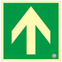 避難誘導標識 中輝度蓄光式床用誘導標識 (認定証票付) 非常口 300mm角 表示:矢印のみ 緑地 (070013)