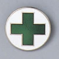 バッジ 20mm丸 表記:緑+ (138204)