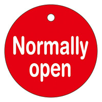 バルブ開閉札 50mm丸 両面印刷 表記:Normally open (151120)