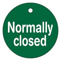 バルブ開閉札 50mm丸 両面印刷 表記:Nomally closed (151130)