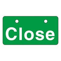 英文字バルブ開閉札 50×100 片面仕様 表記:Close (168002)
