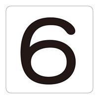 数字表示ステッカー 「6」 5枚1組 サイズ:大 80mm角 (171506)