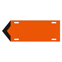 JIS配管識別標識 液体方向表示板 黄赤 サイズ: (大) 120×420×1.8mm (174104)