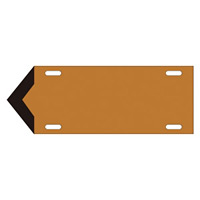 JIS配管識別標識 液体方向表示板 茶 サイズ: (大) 120×420×1.8mm (174108)