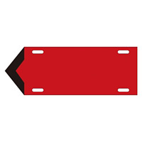 JIS配管識別標識 液体方向表示板 赤 サイズ: (中) 100×300×1.8mm (174202)