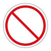 PL警告表示 (簡易タイプ) ステッカー 10枚1組 一般的「禁止」 サイズ:中 (202009)