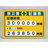 無災害記録板 数字差込み式記録板 615×915mm 仕様:目標時間 (229200)