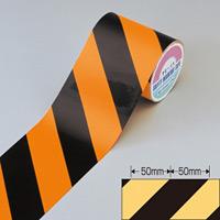 蛍光トラテープ オレンジ/黒 サイズ:90mm幅×10m×0.2mm (256401)