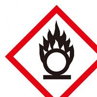 化学物質関係標識 GHSラベル 円上の炎 5枚入り サイズ: (大) ◇一辺/150mm (037102)